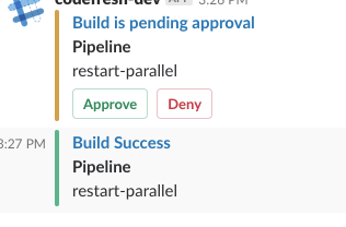 Approval step in a slack channel