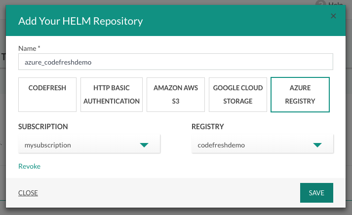 Selecting an Azure Helm repository